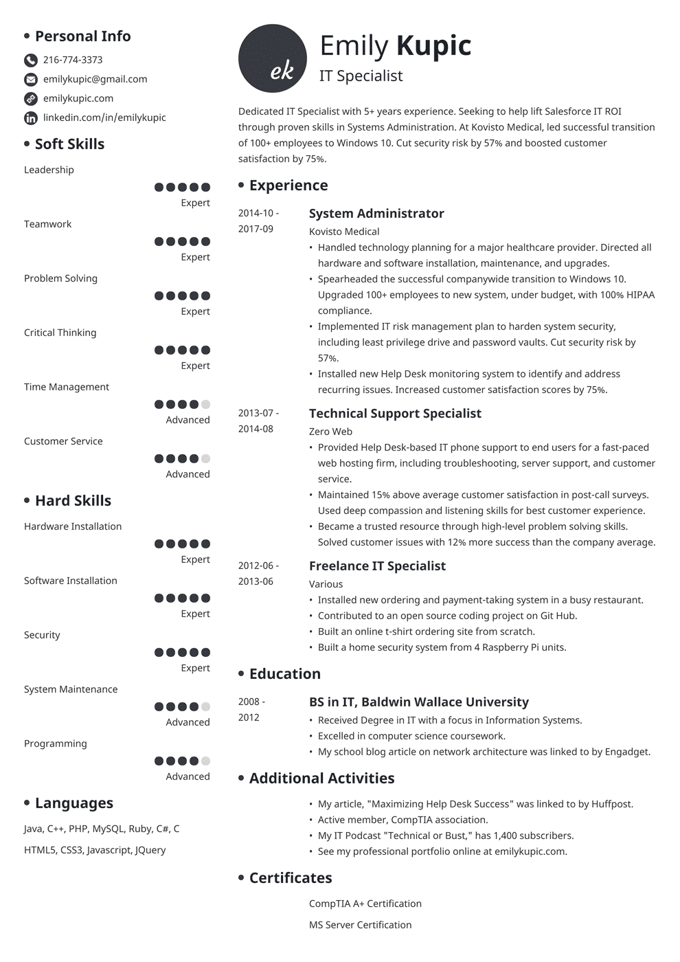 Technical Resume Tips Technical Resume Sample And Complete Guide 20 Examples