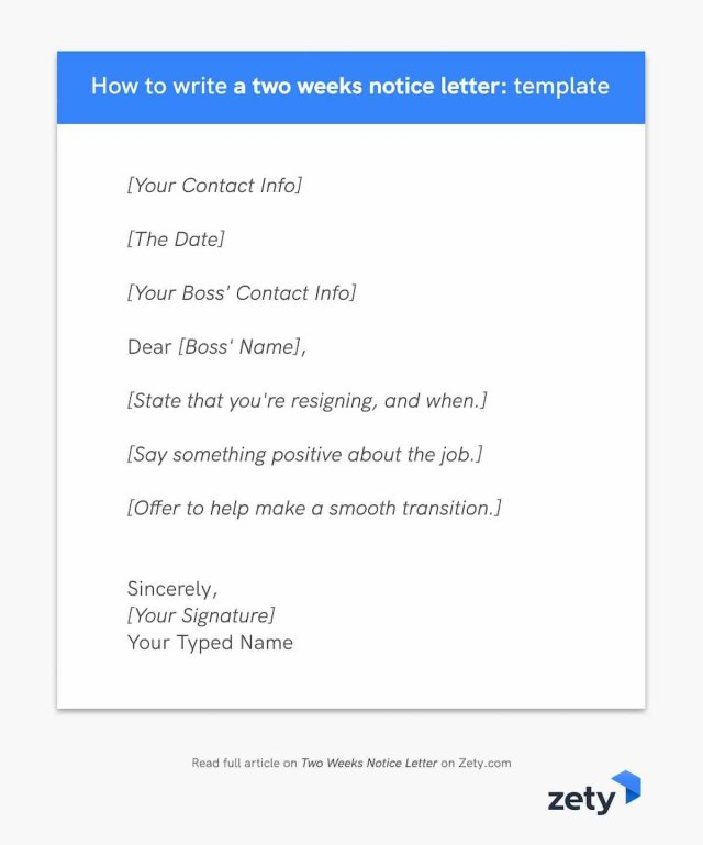 Two Weeks Notice Letter (Template and Writing Guide)
