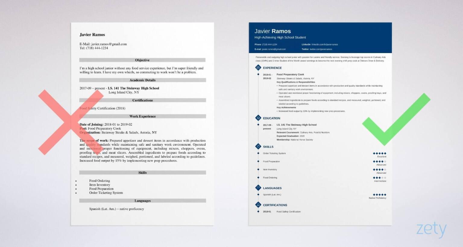 resume builder for high school graduate