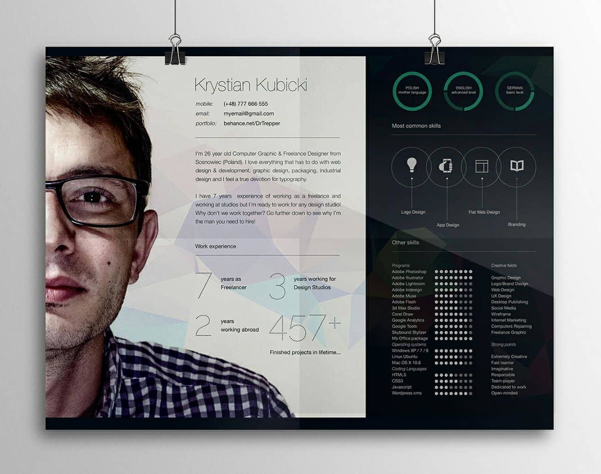 design horizontal cv resume