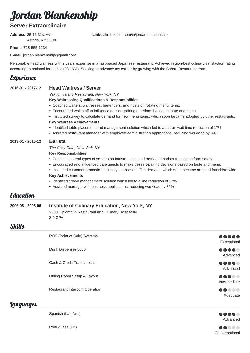 Resume Description For Waitress Waiter Waitress Resume Sample Complete Guide 20 Examples