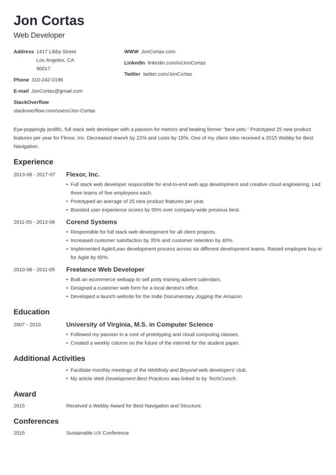Web Developer Resume Examples Template