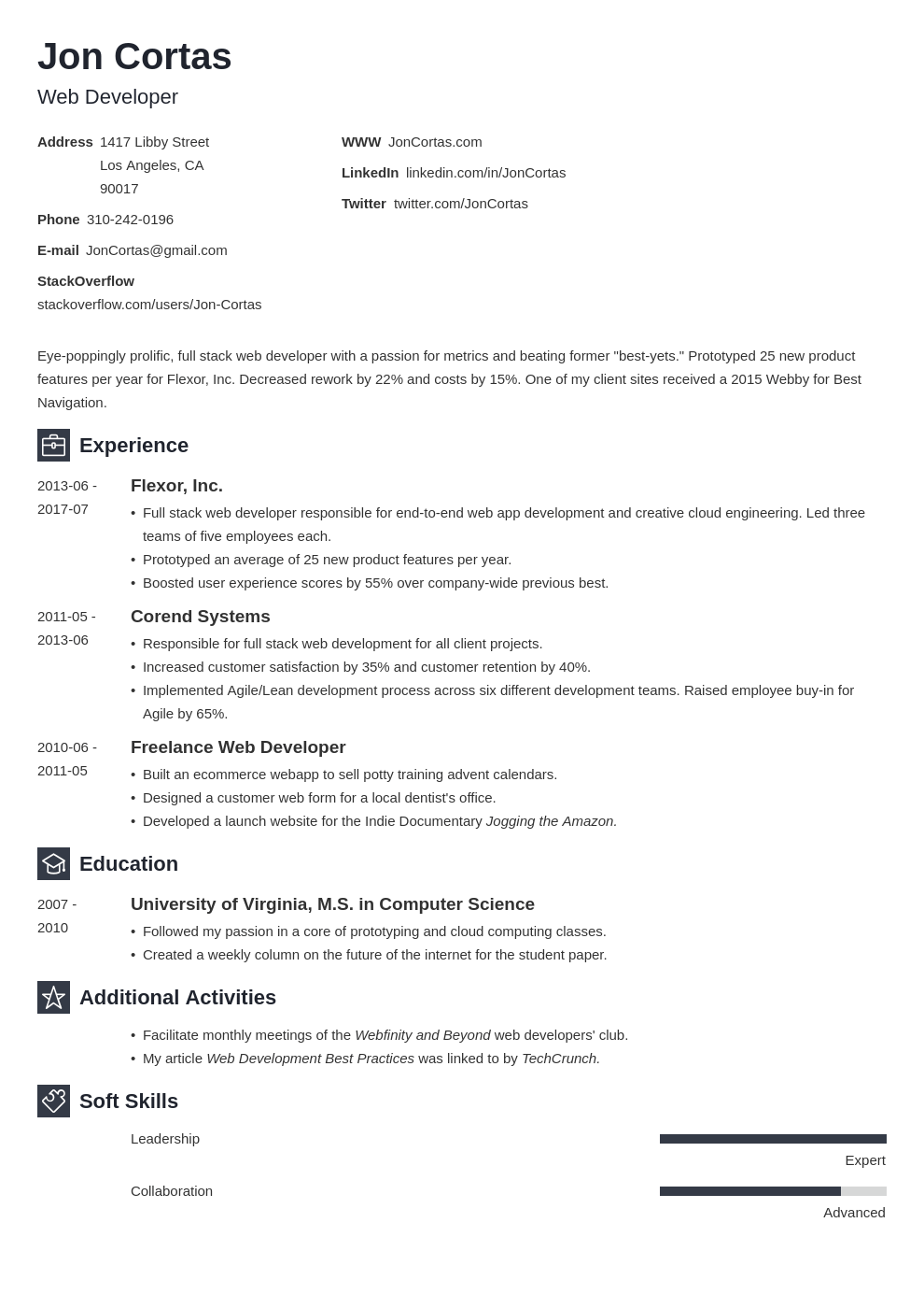 Resume Format For Experienced Web Developer Web Developer Resume Sample Complete Guide 20 Examples