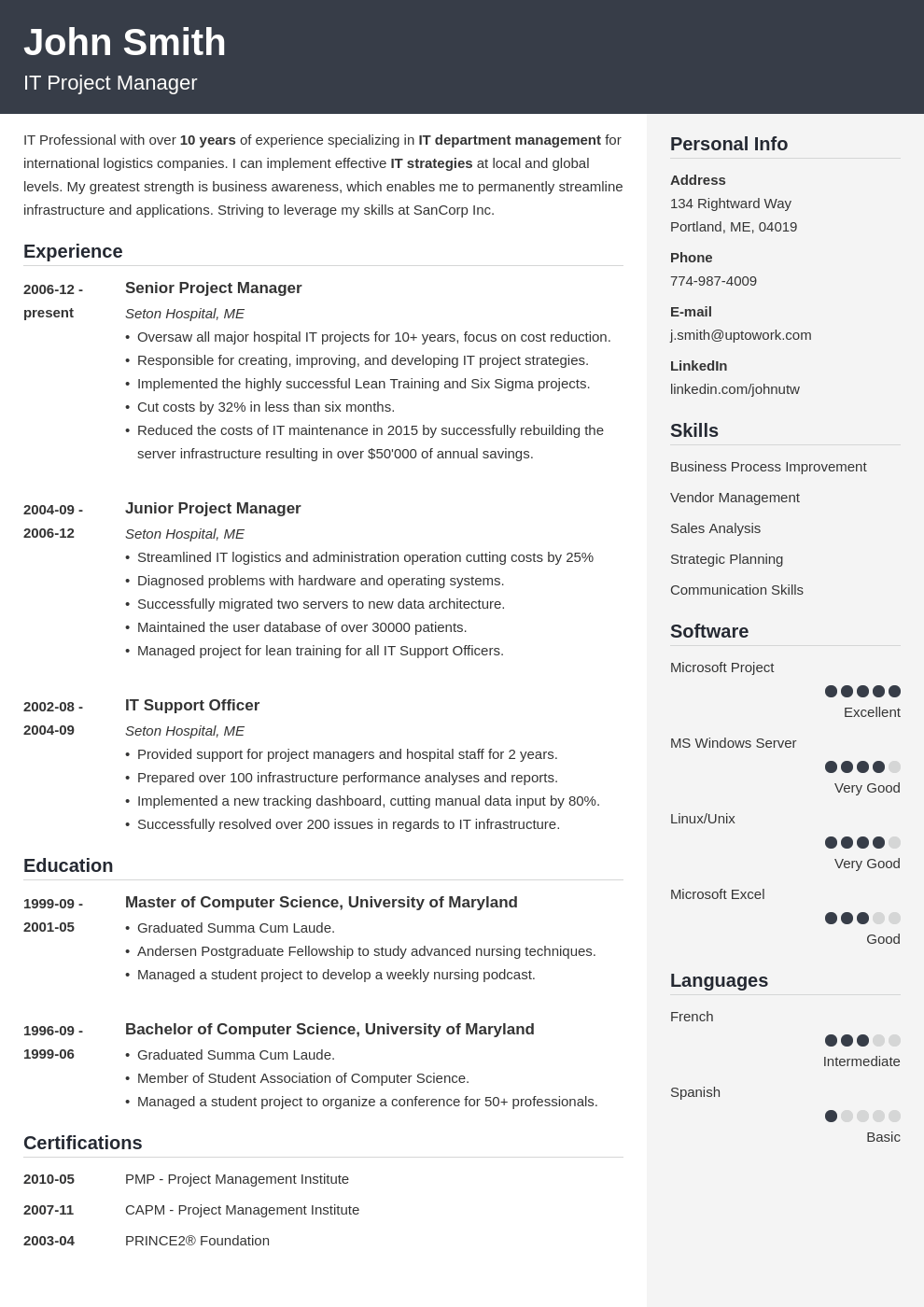 Resume Sample 2019 Usa