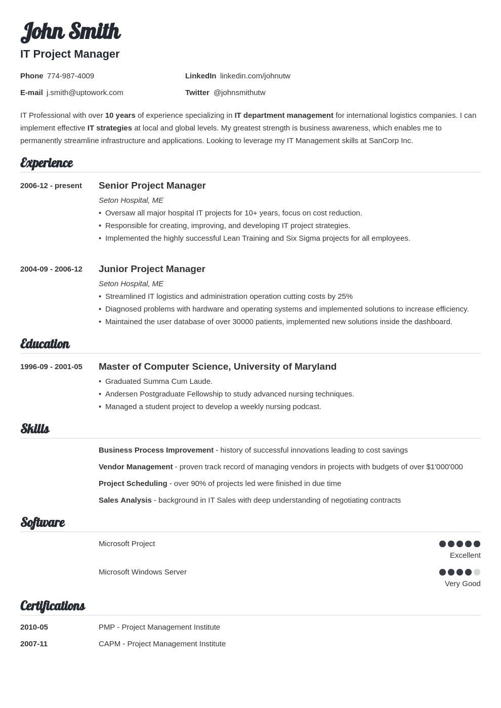 influx resume template free download
