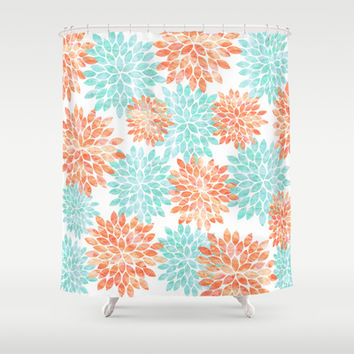 Shop Aqua & Coral Curtains On Wanelo