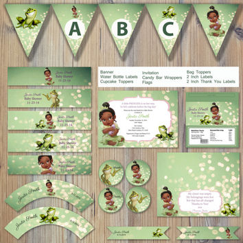 Instant Princess And The Frog Green Bokeh Baby Tiana Tia Prince Naveen Editable Printable Party Package Event Invitation Template