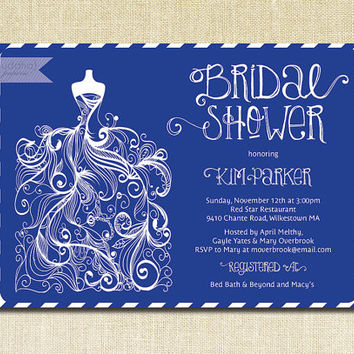 Royal Blue Bridal Shower Invitation Gown Sketch White Str