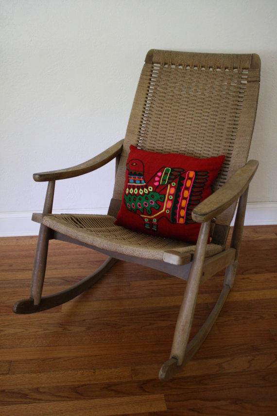 danish modern rocking chair hanging living room ideas sale look woven rope from abtmodern on etsy