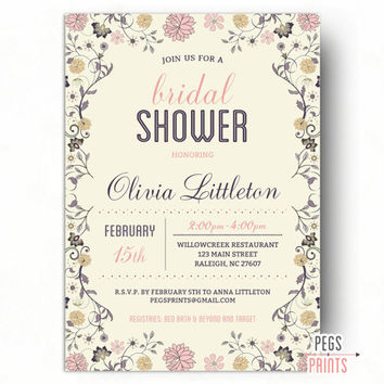 Fl Bridal Shower Invitation Printable Elegant Shabby