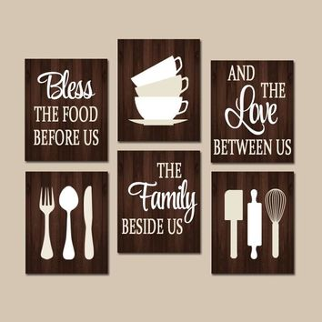 art for kitchen wall beach house backsplash ideas shop sets on wanelo quote canvas or prints bless food bef