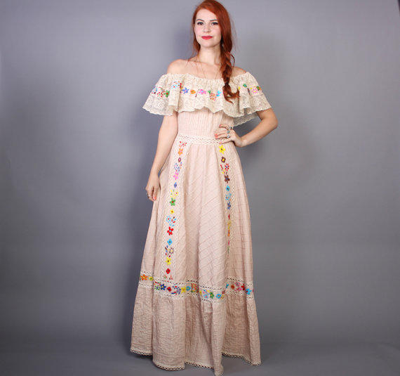 60s MEXICAN WEDDING DRESS  Embroidered from Lucky Vintage