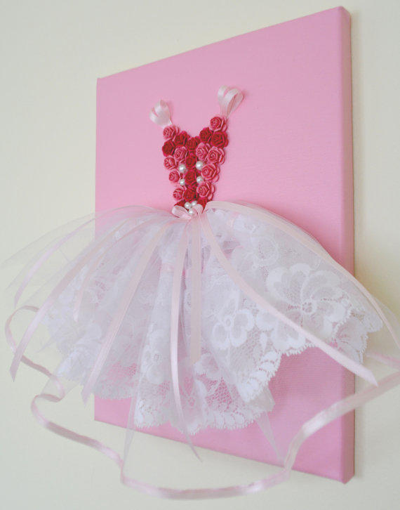 princess dress wall art in pink and from florasshop on etsy