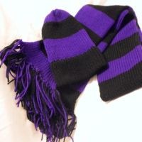 Hand knitted purple and black striped from Adrian's Knit Wits