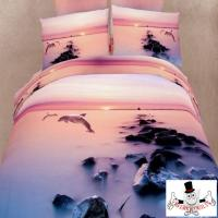 3D Bed Set Dolphins Diving Pink Sunset from Qwerky Quilts