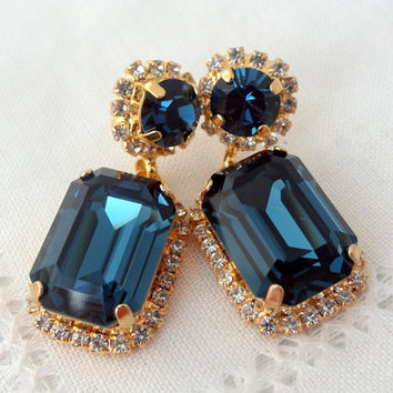 Navy Blue Chandelier Earrings Drop Dangle B