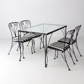 vintage wrought iron table and chairs heavy duty beach chair best products on wanelo free ship set outdoor furniture