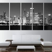 Chicago Skyline Wall Art - chicago skyline by night wall ...
