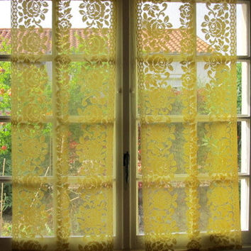french lace kitchen curtains stainless steel garbage can hatched in france on wanelo yellow rose panels pair