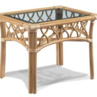 St. Thomas Rattan End Table With Glass from Wicker Paradise