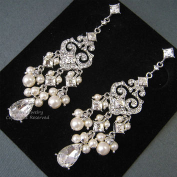 Chandelier Bridal Earrings E0022 Ivory Pearl Wedding Pearls And
