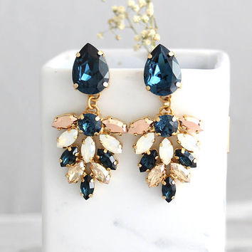 Blue Navy Earrings Bridal Chandeliers White Opal Chandelier Dark