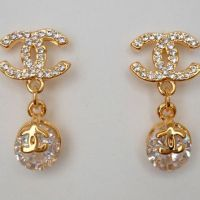 Chanel Inspired Crystal Gold Dangle from PiccolaJewelry on