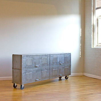 72 Inch Repurposed Vintage Steel Locker Console by wesbenn on Etsy