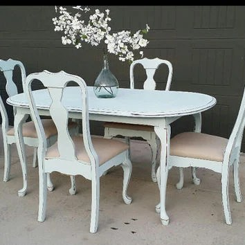distressed dining chairs folding chair for less shop on wanelo sold painted table and set farmhouse furniture ru