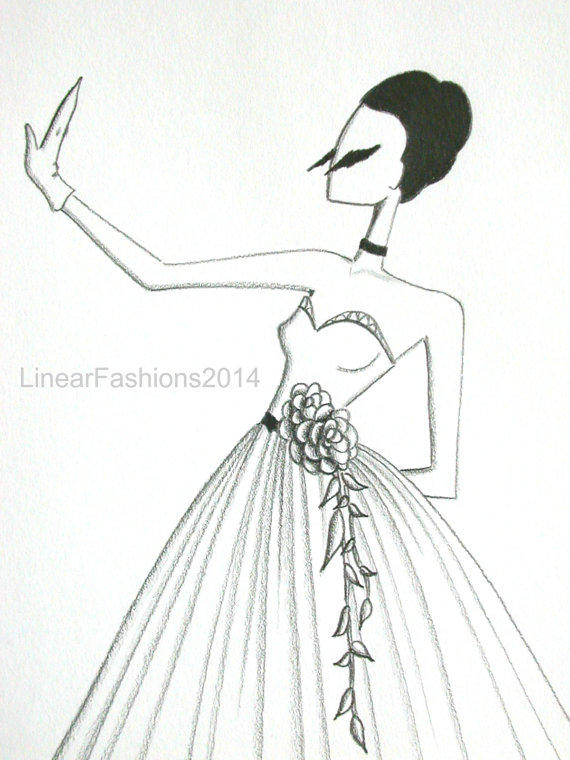 The Swan / fashion illustration / 1950s from LinearFashions on