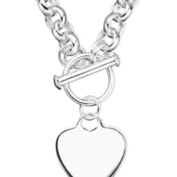 Giani Bernini Heart Tag Necklace in Sterling Silver