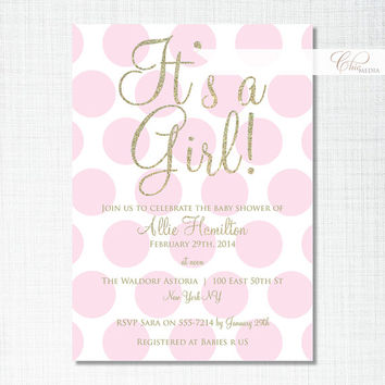 Custom Personalised Baby Shower Invitation Printable Digital Polka Dots Spots Pink White Gold Or Silver Glitter Birthday Party Invite