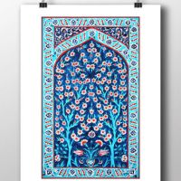 Ottoman Floral Wall Tile Art Watercolor from HermesArts on ...