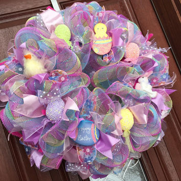 Pink Green Easter Deco Mesh Wreath Eas