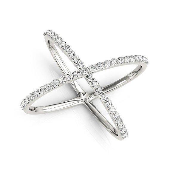 14kt Gold Diamond Criss Cross X Ring, 14K from