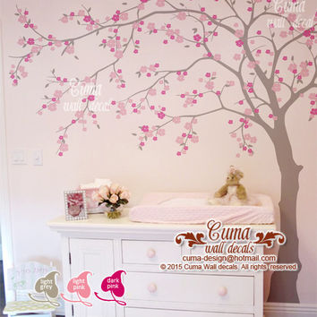 nature wall decal tree and birdcage vinyl from cuma on etsy