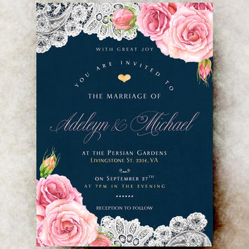 Breathtaking Navy Blue And Fuschia Wedding Invitations 14 About Remodel Free Invitation Templates With