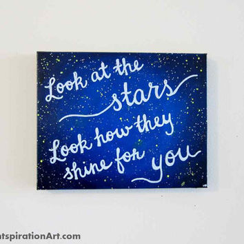 Look At The Stars X Canvas Quote From Paintspiration Art Iltribunocom