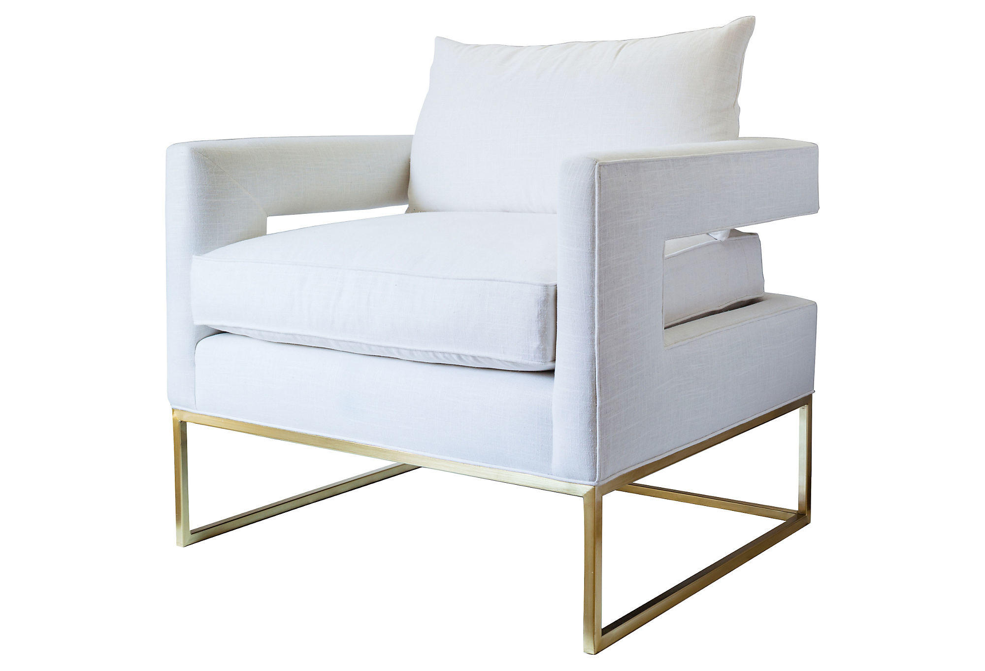 White And Gold Chair Bevin Linen Accent Chair White Gold From One Kings Lane
