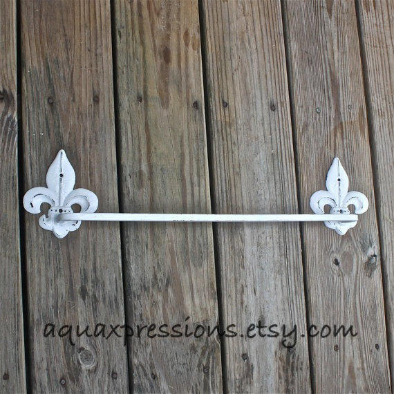 White Metal Towel Rack Fleur de Lis from AquaXpressions on Etsy