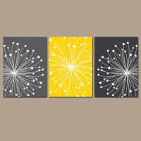 DANDELION Wall Art CANVAS or Prints Gray from TRM Design ...
