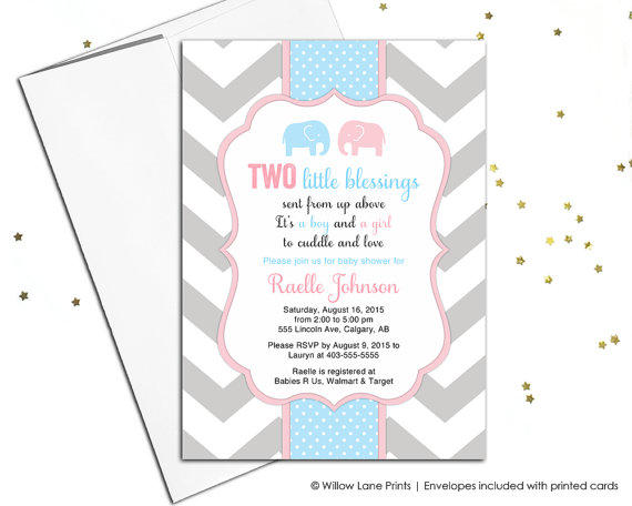 Printable Twin Boy And Baby Shower Invitation Invite With Elephants Pink Blue Chevron 795