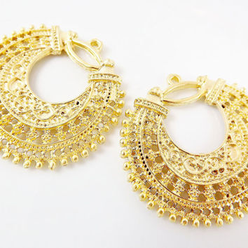 2 Large Exotic Filigree Chandelier Earring Component Pendant 22k Matte Gold Plated