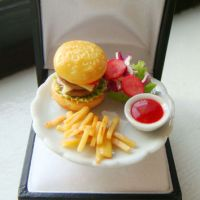 Miniature Food Ring - Cheeseburger Meal from minimania on Etsy
