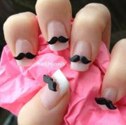 10 x black moustache 3d nail art