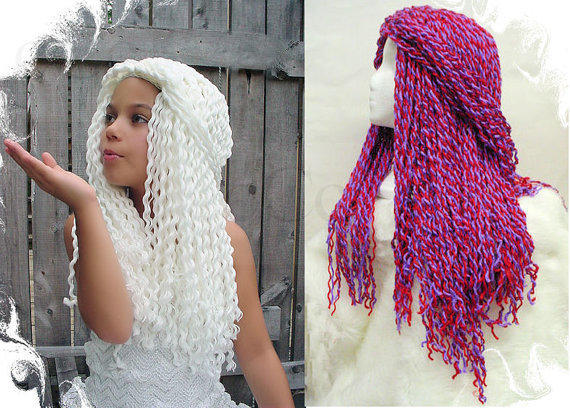 Yarn Falls Hair Crochet Hat Wig White from coocoos on Etsy