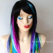 rainbow wig. hair ombre