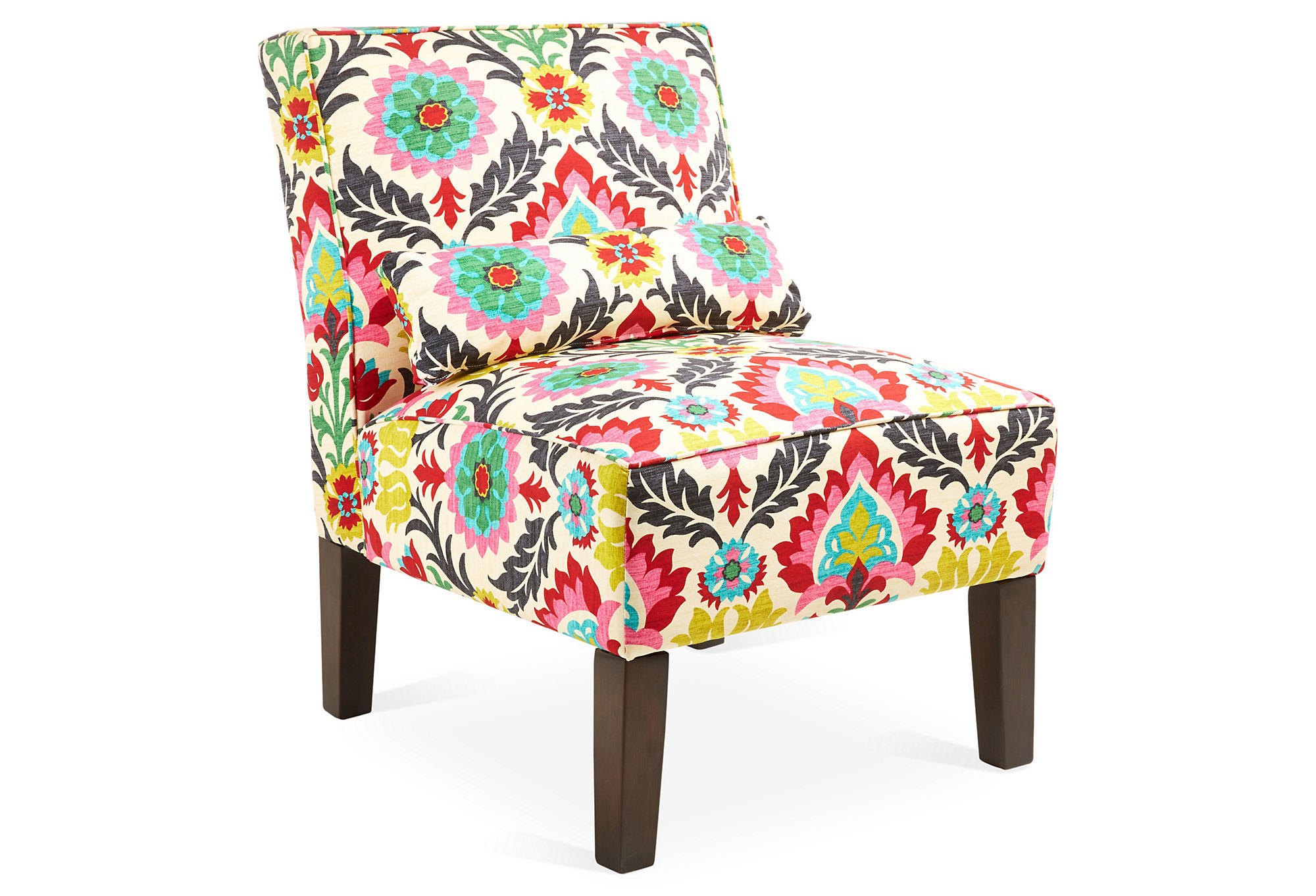 Multi Colored Accent Chairs Bergman Armless Cotton Chair Pink Multi From One Kings Lane