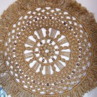 Large Round Macrame Wall Hanging of Jute from Ladybug Stained