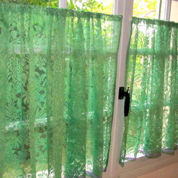 french lace kitchen curtains handles black hatched in france on wanelo green cafe gree